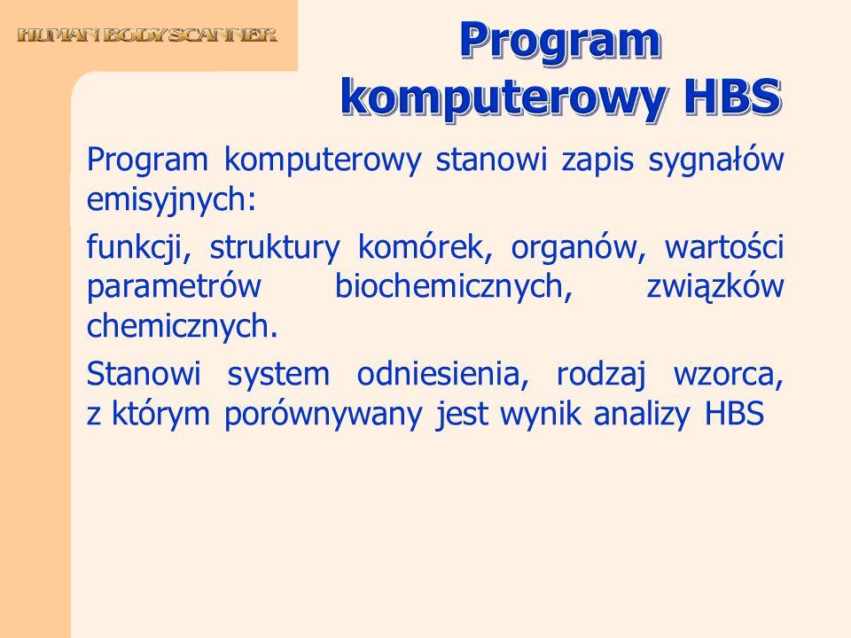 Program komputerowy stanowi zapis sygnałów emisyjnych: funkcji, struktury komórek, organów, wartości parametrów biochemicznych, związków chemicznych.
