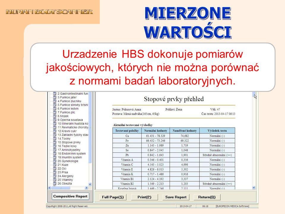 Urzadzenie HBS dokonuje pomiarów jakościowych, których nie można porównać z normami badań laboratoryjnych.