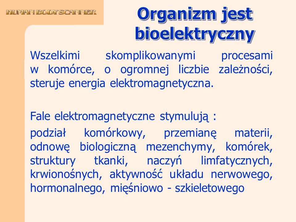 Wszelkimi skomplikowanymi procesami w komórce, o ogromnej liczbie zależności, steruje energia elektromagnetyczna. Fale elektromagnetyczne stymulują :