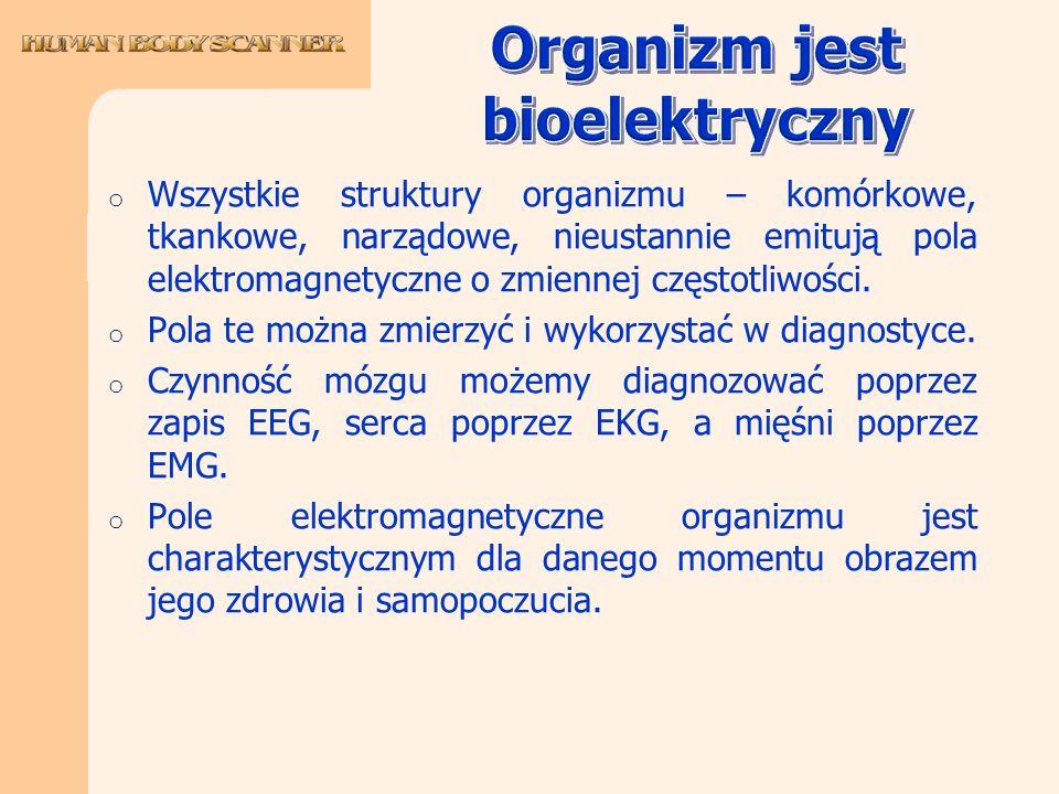 o Wszystkie struktury organizmu – komórkowe, tkankowe, narządowe, nieustannie emitują pola elektromagnetyczne o zmiennej częstotliwości. o Pola te moż