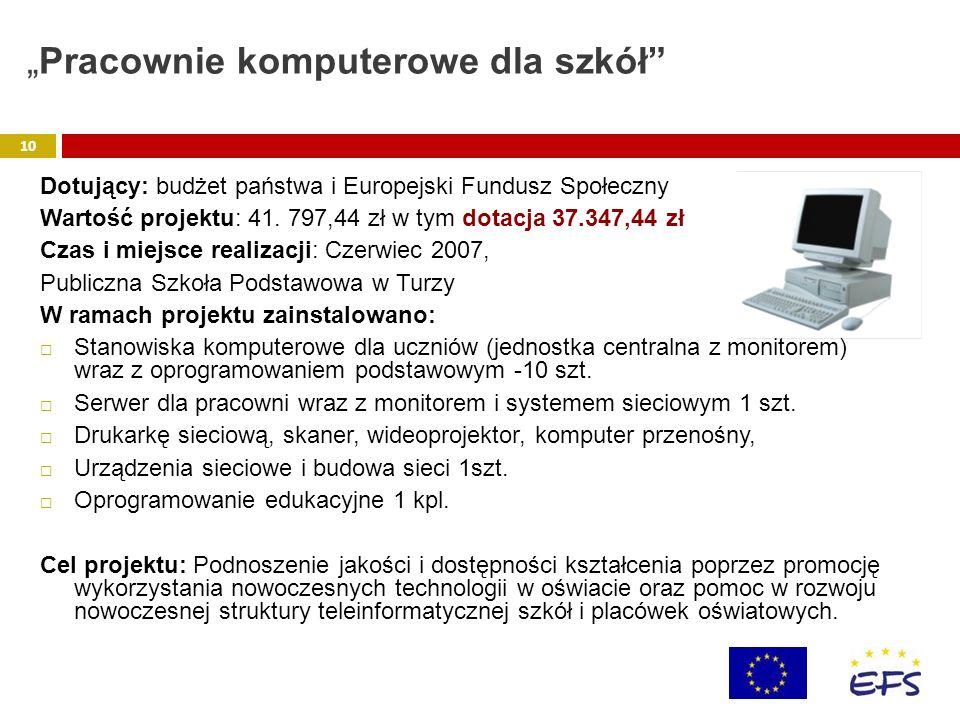 Dotujący: budżet państwa i Europejski Fundusz Społeczny Wartość projektu: 41. 797,44 zł w tym dotacja 37.347,44 zł Czas i miejsce realizacji: Czerwiec