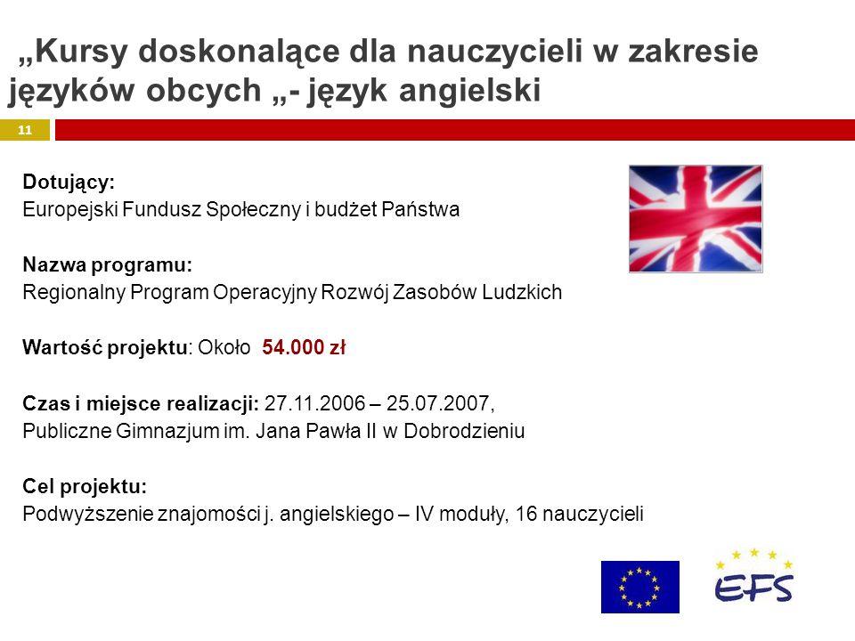 Dotujący: Europejski Fundusz Społeczny i budżet Państwa Nazwa programu: Regionalny Program Operacyjny Rozwój Zasobów Ludzkich Wartość projektu: Około