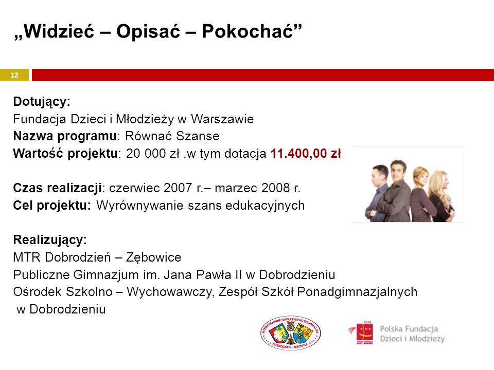 Dotujący: Fundacja Dzieci i Młodzieży w Warszawie Nazwa programu: Równać Szanse Wartość projektu: 20 000 zł.w tym dotacja 11.400,00 zł Czas realizacji