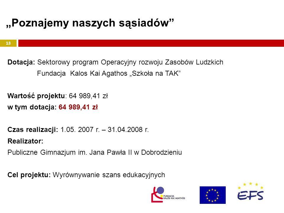 Dotacja: Sektorowy program Operacyjny rozwoju Zasobów Ludzkich Fundacja Kalos Kai Agathos Szkoła na TAK Wartość projektu: 64 989,41 zł w tym dotacja: