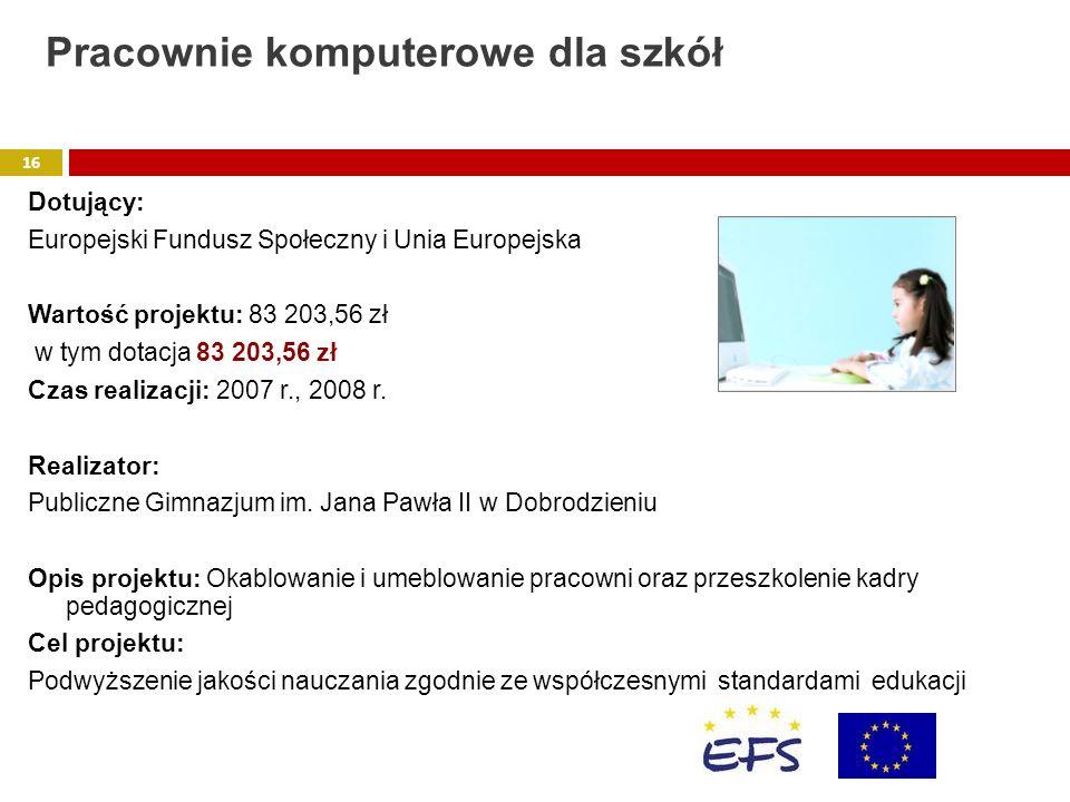 Dotujący: Europejski Fundusz Społeczny i Unia Europejska Wartość projektu: 83 203,56 zł w tym dotacja 83 203,56 zł Czas realizacji: 2007 r., 2008 r. R