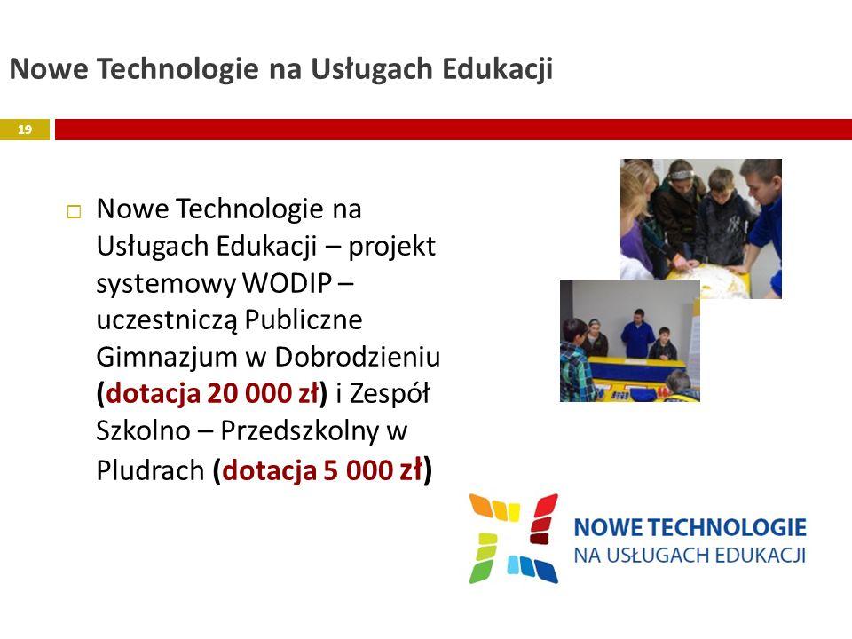 Nowe Technologie na Usługach Edukacji Nowe Technologie na Usługach Edukacji – projekt systemowy WODIP – uczestniczą Publiczne Gimnazjum w Dobrodzieniu
