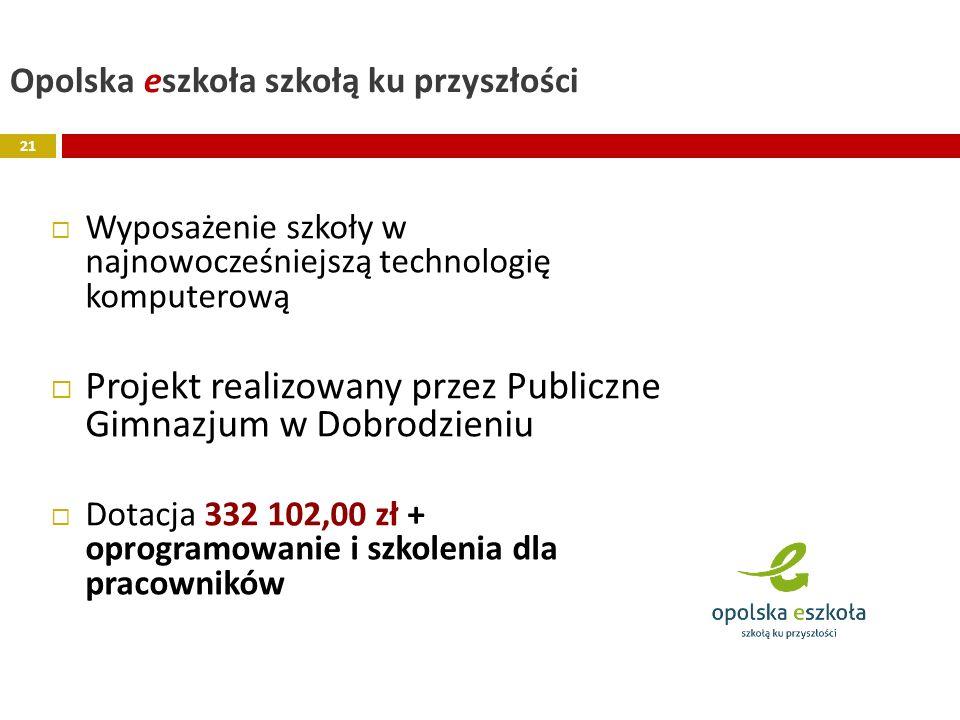Opolska eszkoła szkołą ku przyszłości Wyposażenie szkoły w najnowocześniejszą technologię komputerową Projekt realizowany przez Publiczne Gimnazjum w