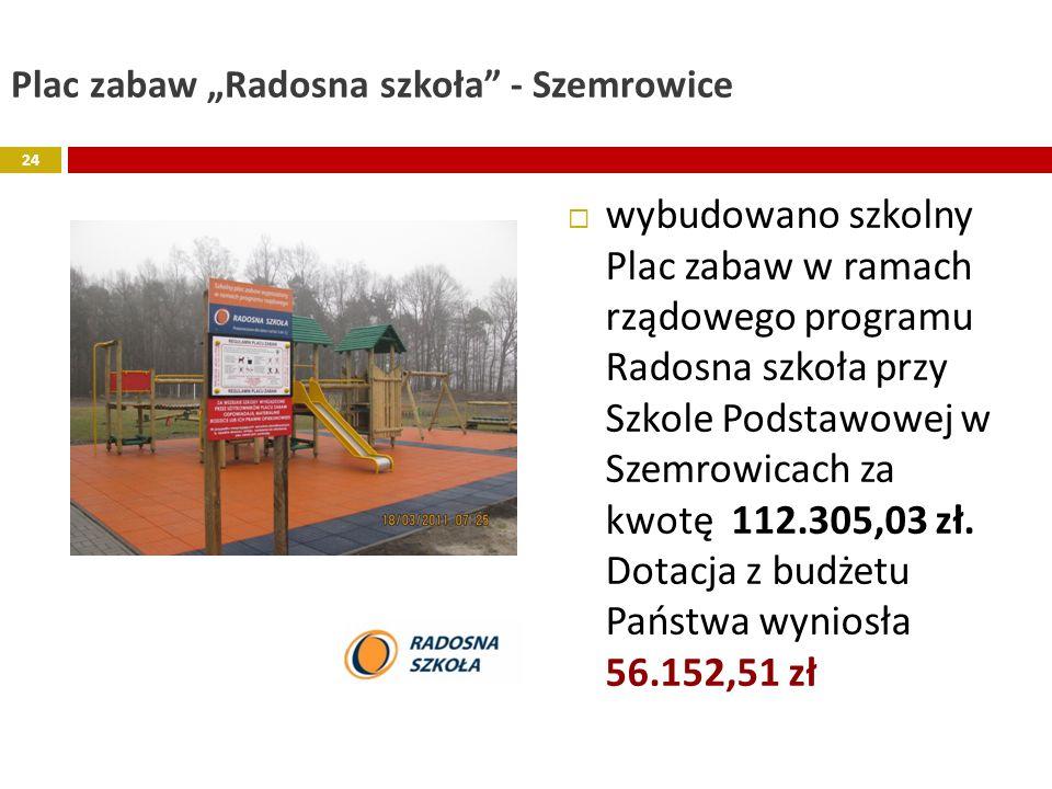 Plac zabaw Radosna szkoła - Szemrowice wybudowano szkolny Plac zabaw w ramach rządowego programu Radosna szkoła przy Szkole Podstawowej w Szemrowicach