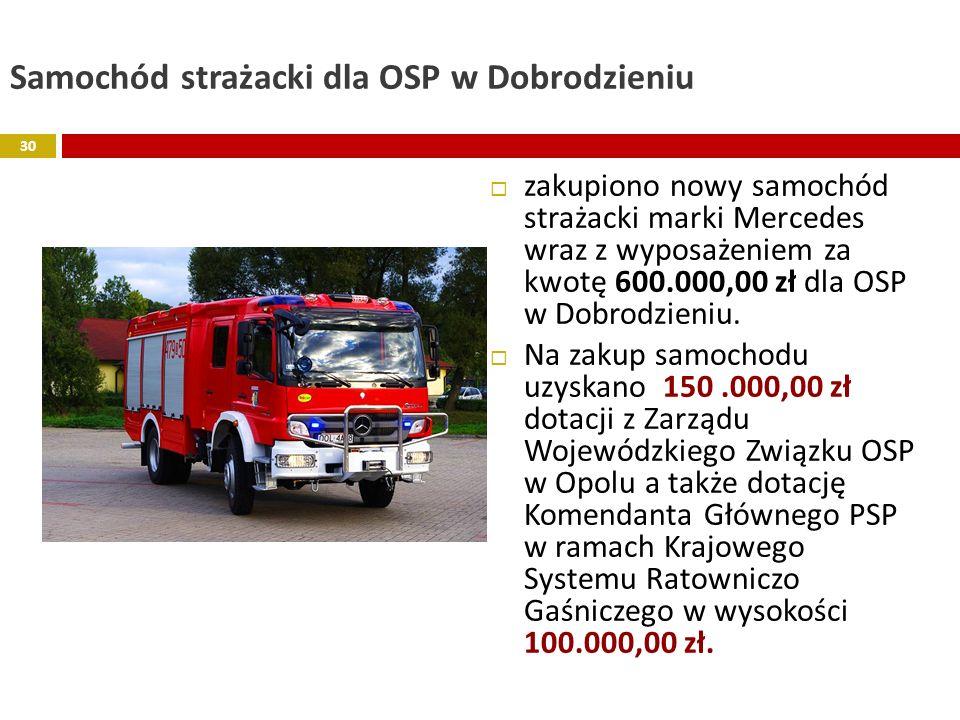 Samochód strażacki dla OSP w Dobrodzieniu zakupiono nowy samochód strażacki marki Mercedes wraz z wyposażeniem za kwotę 600.000,00 zł dla OSP w Dobrod