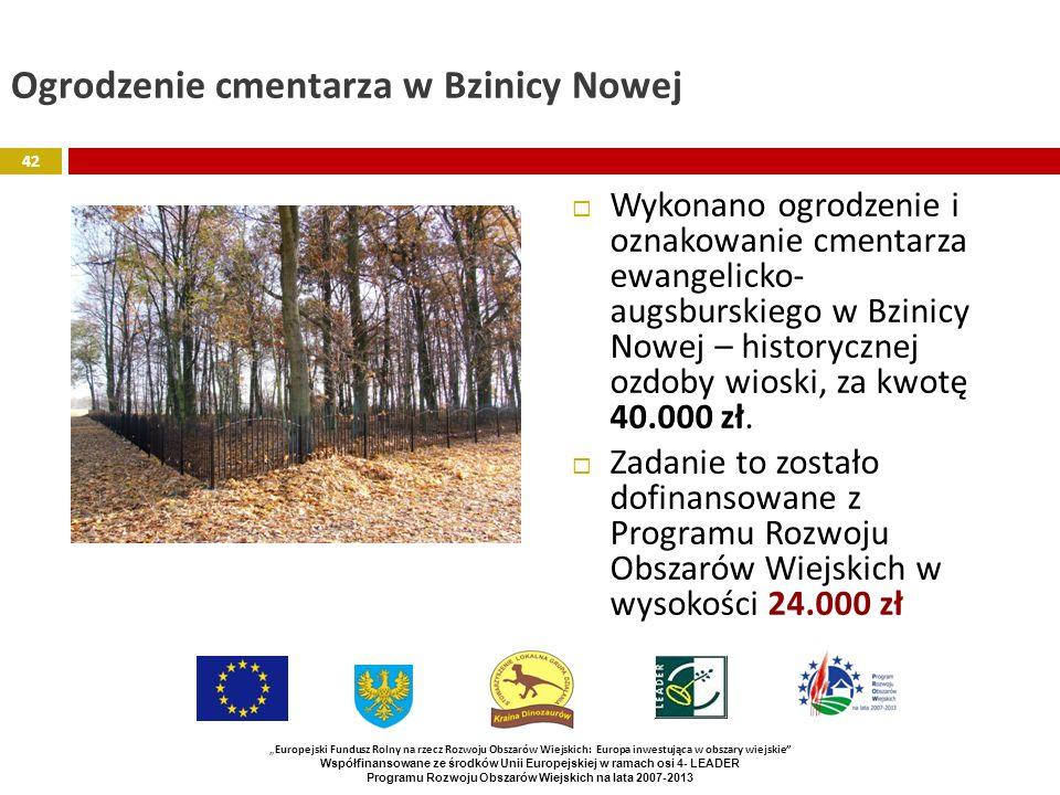 Ogrodzenie cmentarza w Bzinicy Nowej Wykonano ogrodzenie i oznakowanie cmentarza ewangelicko- augsburskiego w Bzinicy Nowej – historycznej ozdoby wios