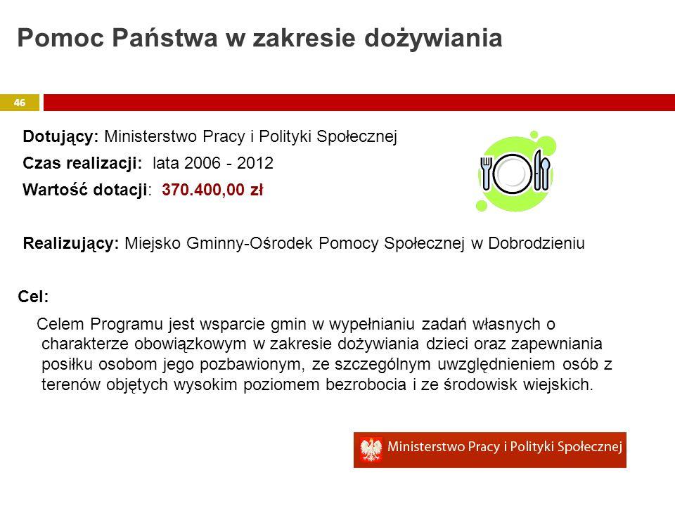 Dotujący: Ministerstwo Pracy i Polityki Społecznej Czas realizacji: lata 2006 - 2012 Wartość dotacji: 370.400,00 zł Realizujący: Miejsko Gminny-Ośrode
