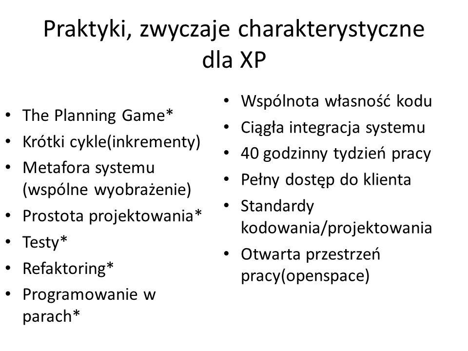 Praktyki, zwyczaje charakterystyczne dla XP The Planning Game* Krótki cykle(inkrementy) Metafora systemu (wspólne wyobrażenie) Prostota projektowania*