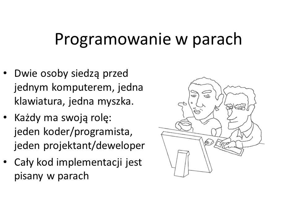 Programowanie w parach Dwie osoby siedzą przed jednym komputerem, jedna klawiatura, jedna myszka. Każdy ma swoją rolę: jeden koder/programista, jeden