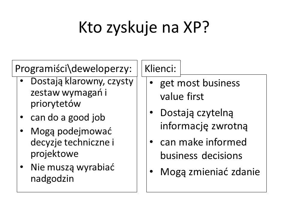 Kto zyskuje na XP? Dostają klarowny, czysty zestaw wymagań i priorytetów can do a good job Mogą podejmować decyzje techniczne i projektowe Nie muszą w