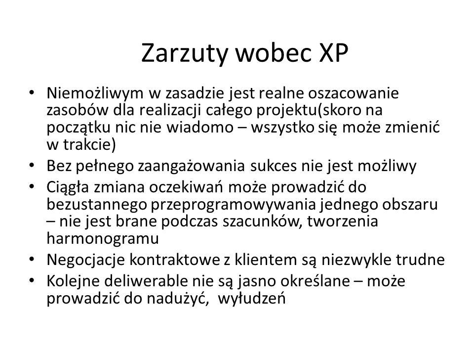Zarzuty wobec XP Niemożliwym w zasadzie jest realne oszacowanie zasobów dla realizacji całego projektu(skoro na początku nic nie wiadomo – wszystko si