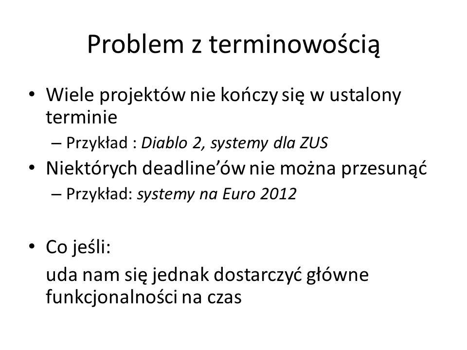 Problem z terminowością Wiele projektów nie kończy się w ustalony terminie – Przykład : Diablo 2, systemy dla ZUS Niektórych deadlineów nie można prze