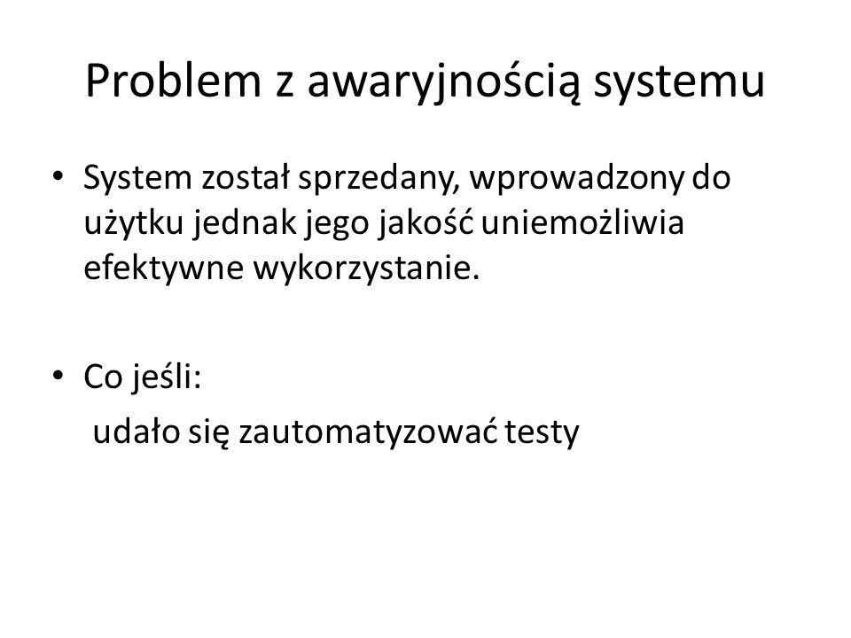 Problem z awaryjnością systemu System został sprzedany, wprowadzony do użytku jednak jego jakość uniemożliwia efektywne wykorzystanie. Co jeśli: udało