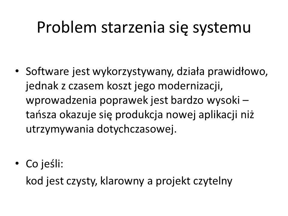 Problem starzenia się systemu Software jest wykorzystywany, działa prawidłowo, jednak z czasem koszt jego modernizacji, wprowadzenia poprawek jest bar