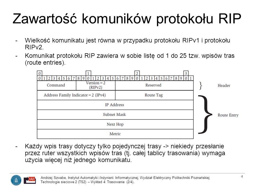 Andrzej Szwabe, Instytut Automatyki i Inżynierii Informatycznej, Wydział Elektryczny Politechniki Poznańskiej Technologie sieciowe 2 (TS2) – Wykład 4: Trasowanie (2/4), 5 Zawartość komuników protokołu RIP -Tylko dwa kody komunikatów protokołu RIP (Message Command Codes) są w standardowym użyciu - pozostałe są przestarzałe (obsolete) lub zarezerwowane dla implementacji prywatnych (reserved for private implementations): -1 Request -żądanie wysłania przez inny ruter całej tablicy tras lub jej części -2 Response -komunikat służący dystrybucji całej tablicy tras rutera lub jej części -komunikat wysyłany w odpowiedzi na żądanie Request lub inicjowany przez ruter -Pole tzw.