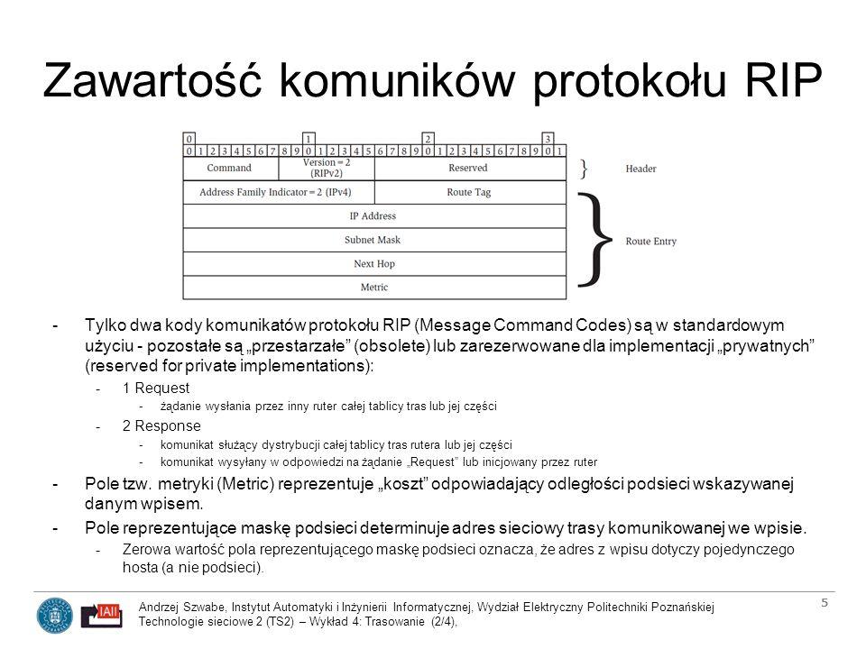 Andrzej Szwabe, Instytut Automatyki i Inżynierii Informatycznej, Wydział Elektryczny Politechniki Poznańskiej Technologie sieciowe 2 (TS2) – Wykład 4: Trasowanie (2/4), 6 Zawartość komuników protokołu RIP -Pole Next Hop komunikatu protokołu RIP -W typowym przypadku (rutera informującego o wpisach pochodzących z jego własnej tablicy trasowania) wartość pola Next Hop równa jest 0.0.0.0.
