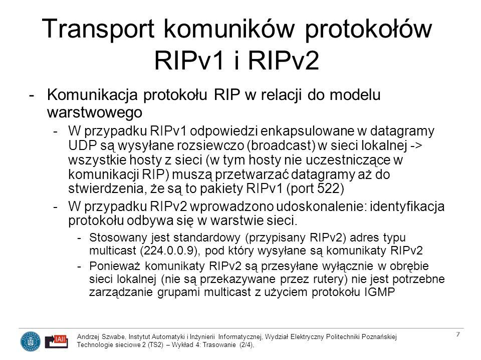 Andrzej Szwabe, Instytut Automatyki i Inżynierii Informatycznej, Wydział Elektryczny Politechniki Poznańskiej Technologie sieciowe 2 (TS2) – Wykład 4: Trasowanie (2/4), 8 Zabezpieczenia komunikacji protokołu RIPv2 -Oprócz udoskonalonego mechanizmu transportu komuników, wersja 2-ga protokołu RIP (RIPv2) wprowadza funkcje zabezpieczenia komunikacji przed niepożądaną ingerencją z zewnątrz.