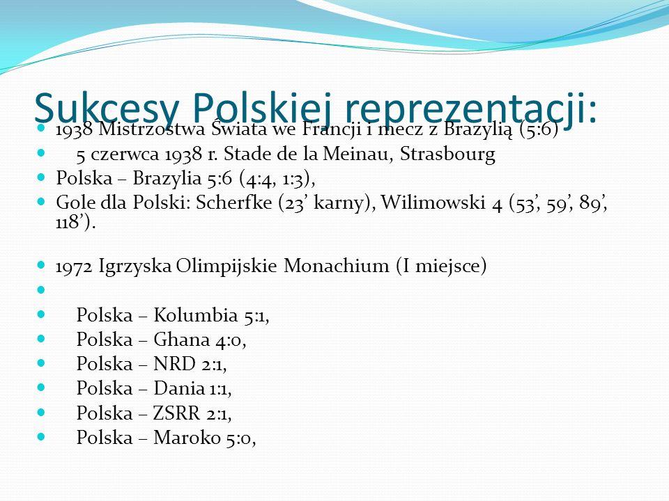 Sukcesy Polskiej reprezentacji: 1938 Mistrzostwa Świata we Francji i mecz z Brazylią (5:6) 5 czerwca 1938 r.