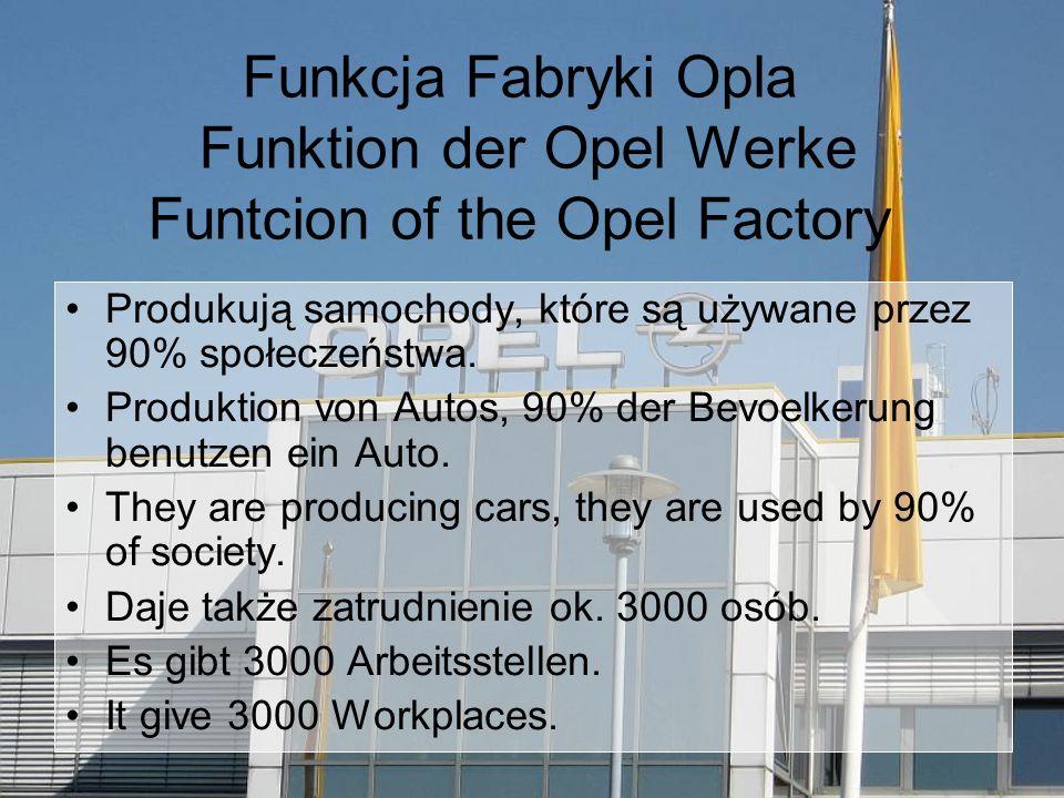 Funkcja Fabryki Opla Funktion der Opel Werke Funtcion of the Opel Factory Produkują samochody, które są używane przez 90% społeczeństwa.