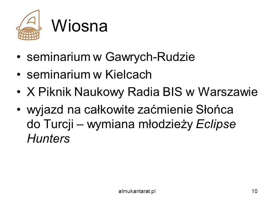 almukantarat.pl10 Wiosna seminarium w Gawrych-Rudzie seminarium w Kielcach X Piknik Naukowy Radia BIS w Warszawie wyjazd na całkowite zaćmienie Słońca