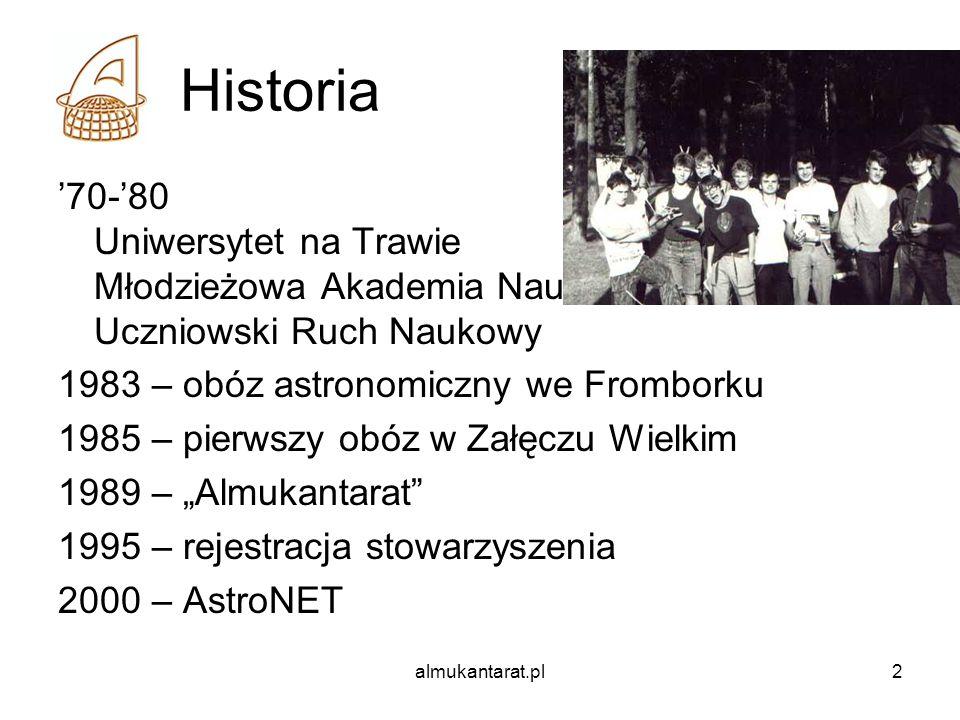 almukantarat.pl2 Historia 70-80 Uniwersytet na Trawie Młodzieżowa Akademia Nauk Uczniowski Ruch Naukowy 1983 – obóz astronomiczny we Fromborku 1985 –