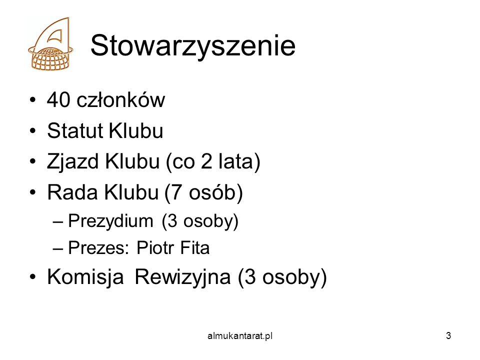 almukantarat.pl3 Stowarzyszenie 40 członków Statut Klubu Zjazd Klubu (co 2 lata) Rada Klubu (7 osób) –Prezydium (3 osoby) –Prezes: Piotr Fita Komisja