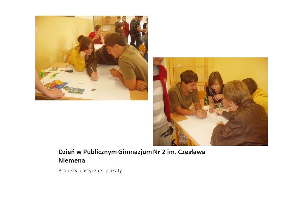 Dzień w Publicznym Gimnazjum Nr 2 im. Czesława Niemena Projekty plastyczne - plakaty