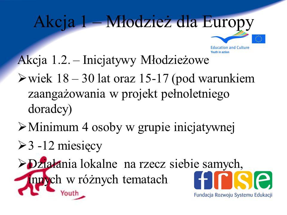 Akcja 1 – Młodzież dla Europy Akcja 1.2.