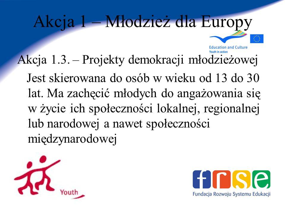 Akcja 1 – Młodzież dla Europy Akcja 1.3.
