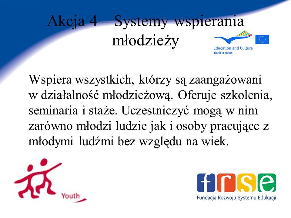 Akcja 4 – Systemy wspierania młodzieży Wspiera wszystkich, którzy są zaangażowani w działalność młodzieżową.