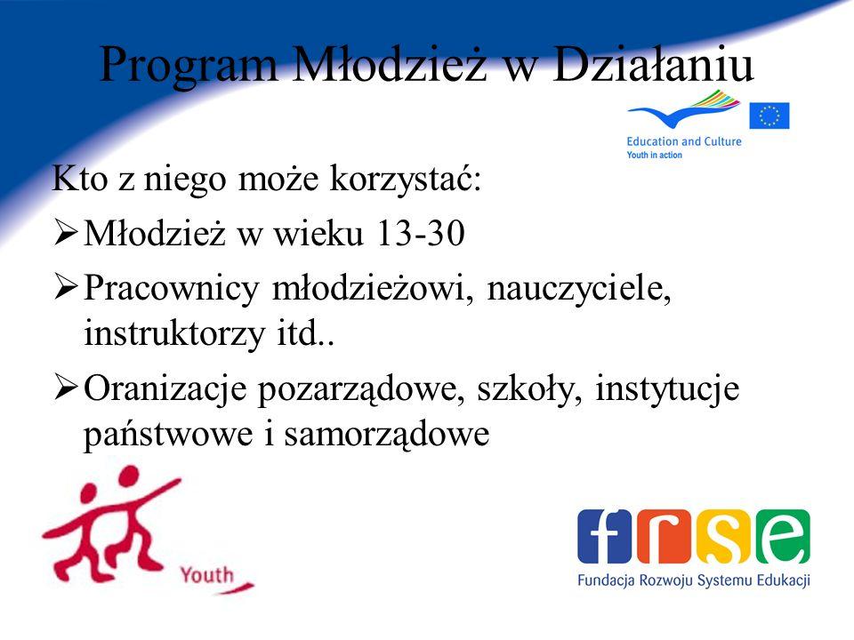 Program Młodzież w Działaniu Kto z niego może korzystać: Młodzież w wieku 13-30 Pracownicy młodzieżowi, nauczyciele, instruktorzy itd..