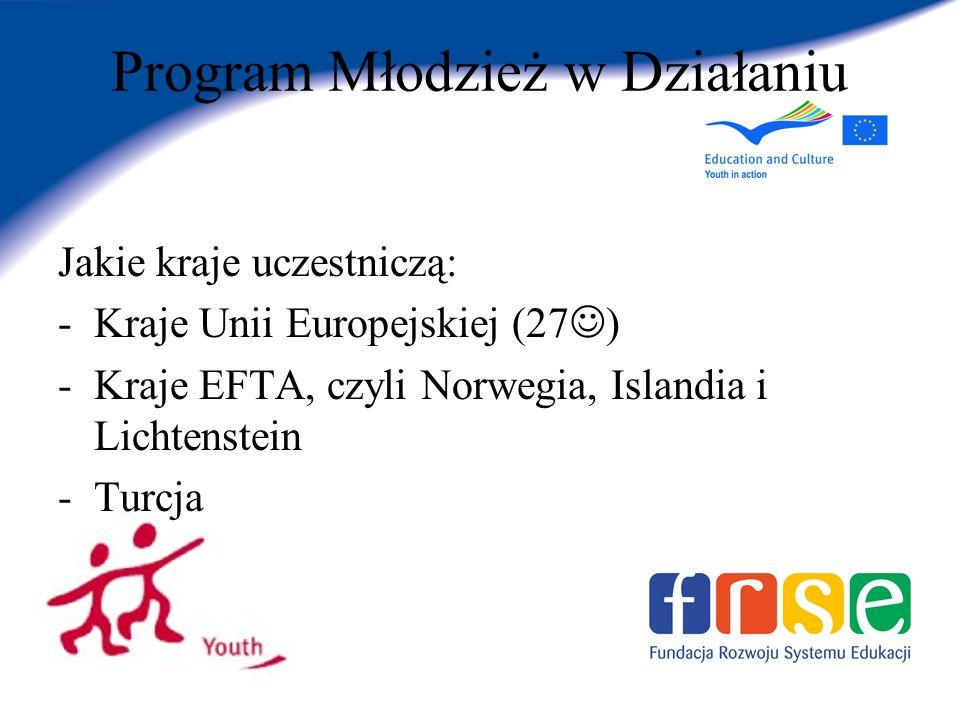 Program Młodzież w Działaniu Jakie kraje uczestniczą: -Kraje Unii Europejskiej (27 ) -Kraje EFTA, czyli Norwegia, Islandia i Lichtenstein -Turcja