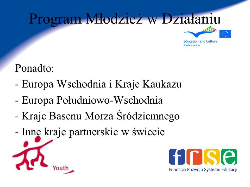 Program Młodzież w Działaniu Ponadto: - Europa Wschodnia i Kraje Kaukazu - Europa Południowo-Wschodnia - Kraje Basenu Morza Śródziemnego - Inne kraje partnerskie w świecie
