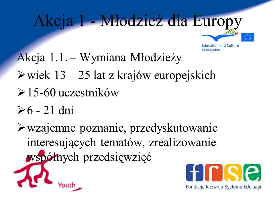 Akcja 1 - Młodzież dla Europy Akcja 1.1.