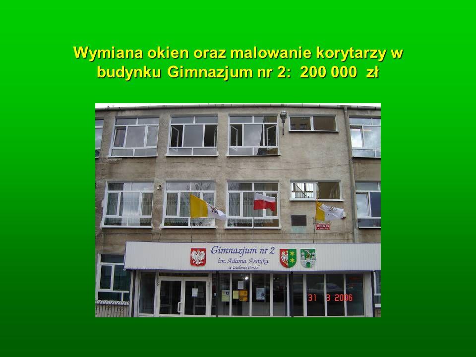 Wymiana okien oraz malowanie korytarzy w budynku Gimnazjum nr 2: 200 000 zł