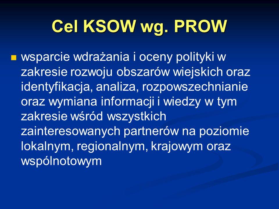 Cel KSOW wg. PROW wsparcie wdrażania i oceny polityki w zakresie rozwoju obszarów wiejskich oraz identyfikacja, analiza, rozpowszechnianie oraz wymian