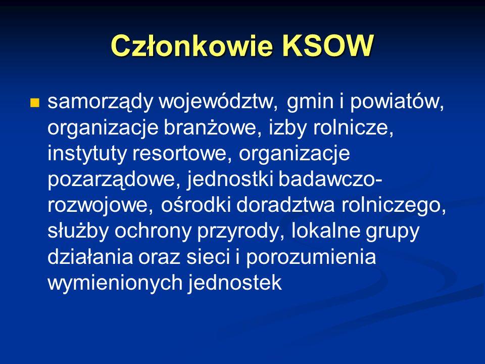Członkowie KSOW samorządy województw, gmin i powiatów, organizacje branżowe, izby rolnicze, instytuty resortowe, organizacje pozarządowe, jednostki ba