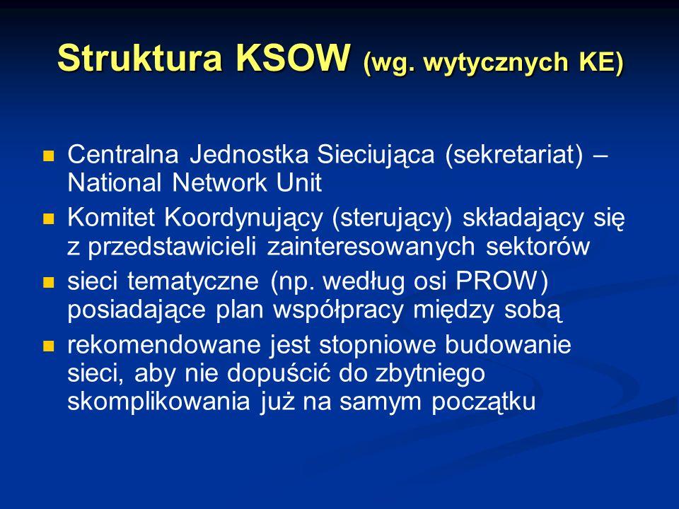Struktura KSOW (wg. wytycznych KE) Centralna Jednostka Sieciująca (sekretariat) – National Network Unit Komitet Koordynujący (sterujący) składający si