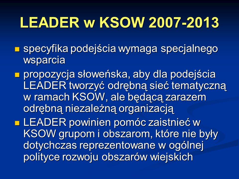 LEADER w KSOW 2007-2013 specyfika podejścia wymaga specjalnego wsparcia specyfika podejścia wymaga specjalnego wsparcia propozycja słoweńska, aby dla