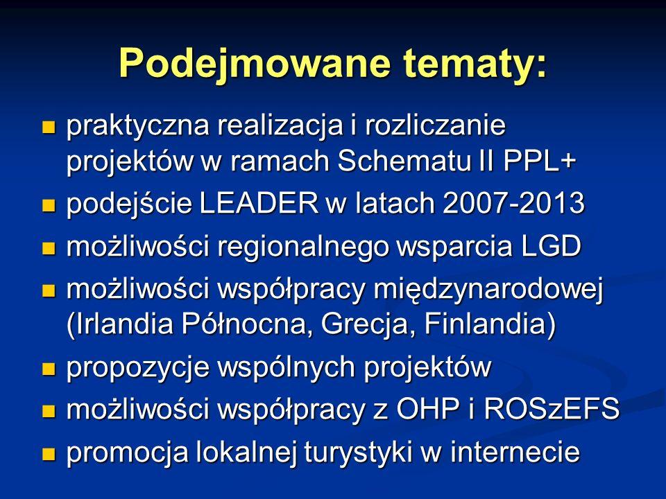 Podejmowane tematy: praktyczna realizacja i rozliczanie projektów w ramach Schematu II PPL+ praktyczna realizacja i rozliczanie projektów w ramach Schematu II PPL+ podejście LEADER w latach 2007-2013 podejście LEADER w latach 2007-2013 możliwości regionalnego wsparcia LGD możliwości regionalnego wsparcia LGD możliwości współpracy międzynarodowej (Irlandia Północna, Grecja, Finlandia) możliwości współpracy międzynarodowej (Irlandia Północna, Grecja, Finlandia) propozycje wspólnych projektów propozycje wspólnych projektów możliwości współpracy z OHP i ROSzEFS możliwości współpracy z OHP i ROSzEFS promocja lokalnej turystyki w internecie promocja lokalnej turystyki w internecie