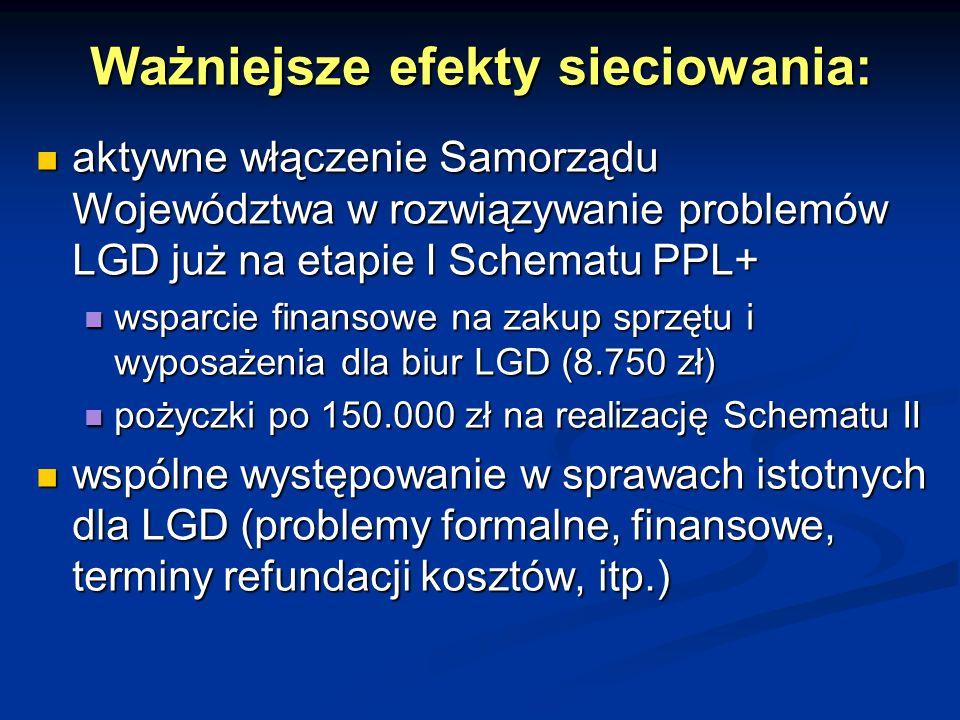 Ważniejsze efekty sieciowania: aktywne włączenie Samorządu Województwa w rozwiązywanie problemów LGD już na etapie I Schematu PPL+ aktywne włączenie S