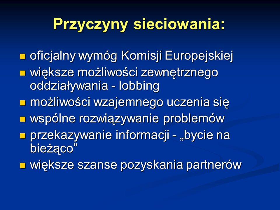 Przyczyny sieciowania: oficjalny wymóg Komisji Europejskiej oficjalny wymóg Komisji Europejskiej większe możliwości zewnętrznego oddziaływania - lobbing większe możliwości zewnętrznego oddziaływania - lobbing możliwości wzajemnego uczenia się możliwości wzajemnego uczenia się wspólne rozwiązywanie problemów wspólne rozwiązywanie problemów przekazywanie informacji - bycie na bieżąco przekazywanie informacji - bycie na bieżąco większe szanse pozyskania partnerów większe szanse pozyskania partnerów