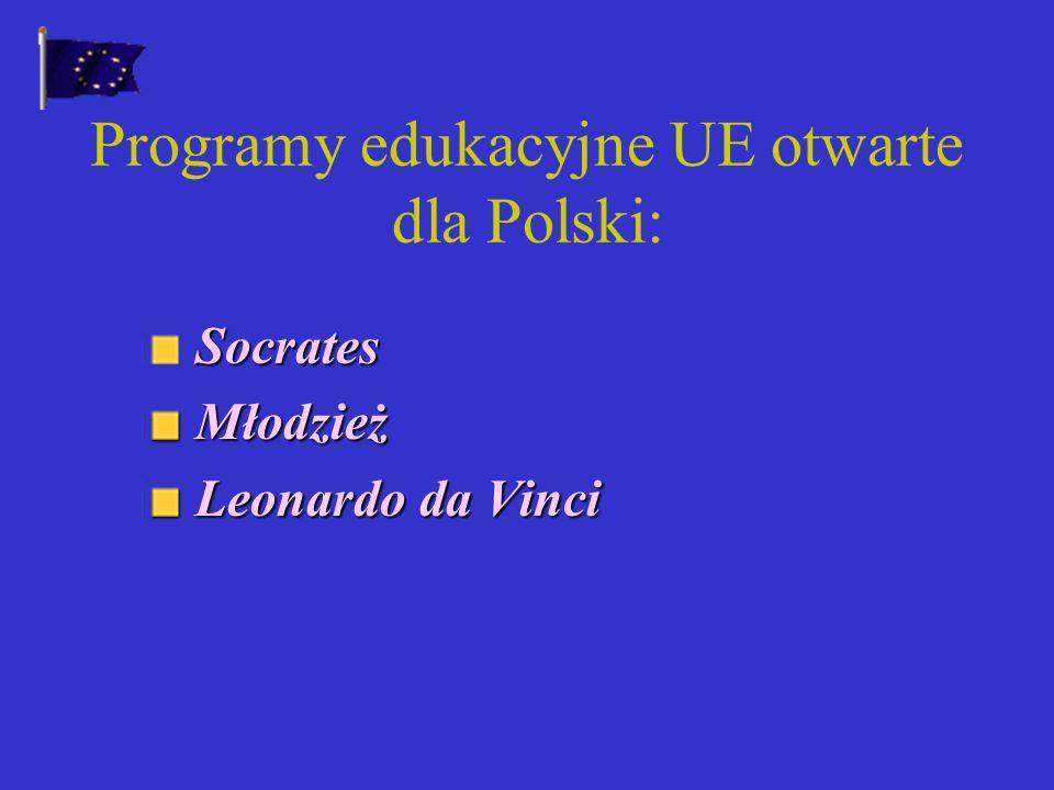 Cele polityki edukacyjnej UE: Upowszechnianie wśród młodzieży poczucia integracji europejskiej Nauczanie języków państw członkowskich Popieranie wymiany studentów i nauczycieli Rozwiązanie problemu uznawania dyplomów i okresów studiów
