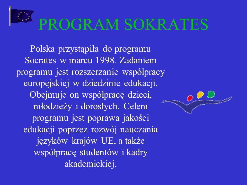 Programy edukacyjne UE otwarte dla Polski: Socrates Młodzież Młodzież Leonardo da Vinci Leonardo da Vinci