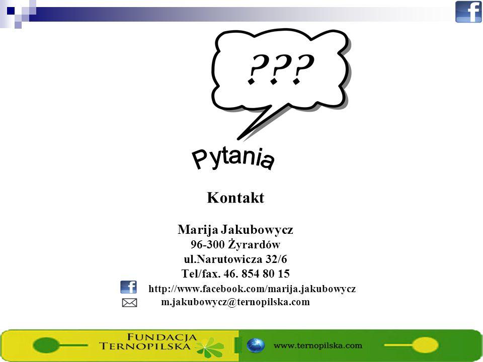 Kontakt Marija Jakubowycz 96-300 Żyrardów ul.Narutowicza 32/6 Tel/fax. 46. 854 80 15 http://www.facebook.com/marija.jakubowycz m.jakubowycz@ternopilsk