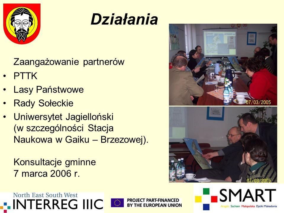 Działania Zaangażowanie partnerów PTTK Lasy Państwowe Rady Sołeckie Uniwersytet Jagielloński (w szczególności Stacja Naukowa w Gaiku – Brzezowej). Kon
